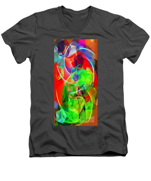 Men's V-Neck T-Shirt featuring the digital art Color Dance 3720 by Rafael Salazar