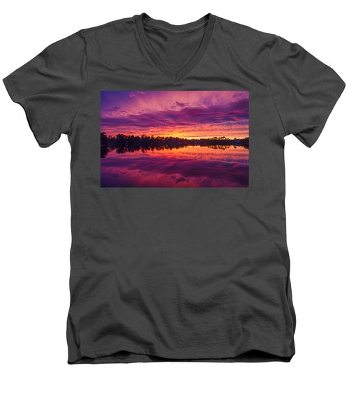 Color Explosion Sunset Men's V-Neck T-Shirt