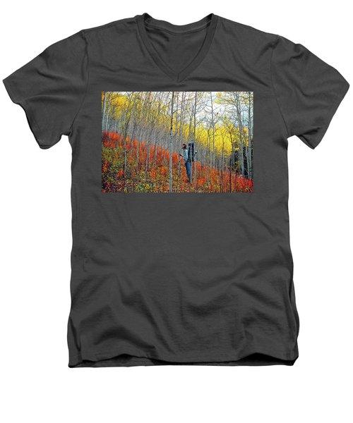 Color Fall Men's V-Neck T-Shirt