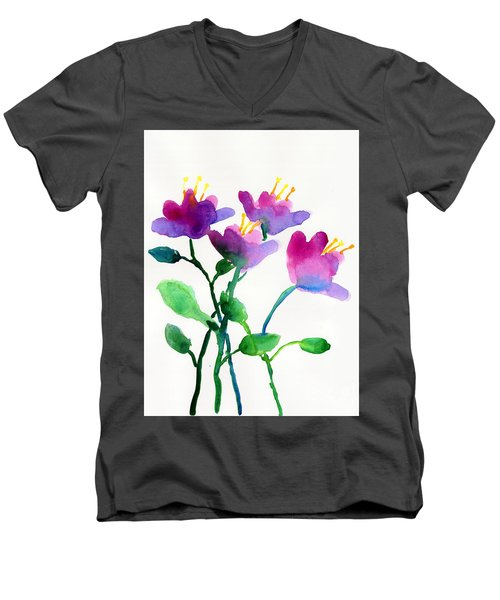 Color Flowers Men's V-Neck T-Shirt