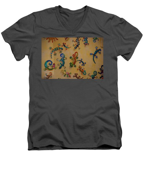 Men's V-Neck T-Shirt featuring the photograph Color Lizards On The Wall by Rob Hans