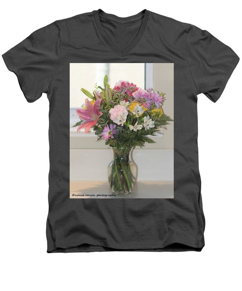 Color Me Happy Men's V-Neck T-Shirt by Nance Larson