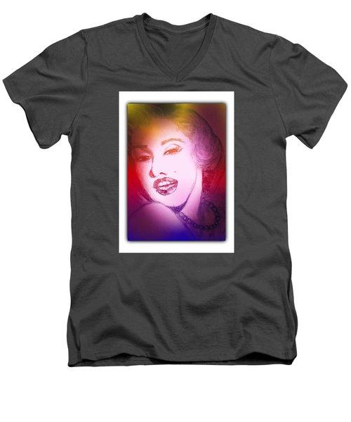 Color Rendition Of Marilyn Monroe #2 Men's V-Neck T-Shirt