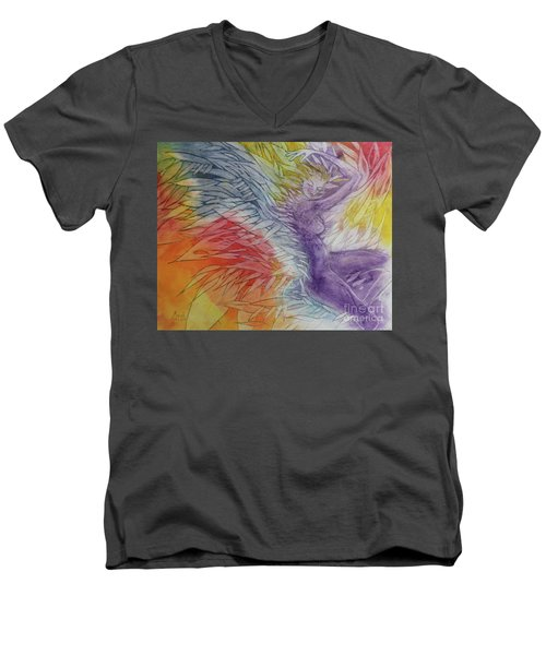 Men's V-Neck T-Shirt featuring the drawing Color Spirit by Marat Essex