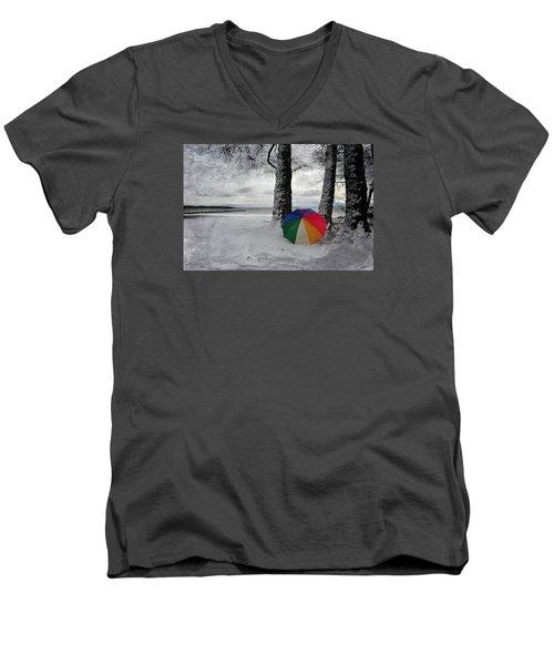 Color To The Melancholy Men's V-Neck T-Shirt by Randi Grace Nilsberg