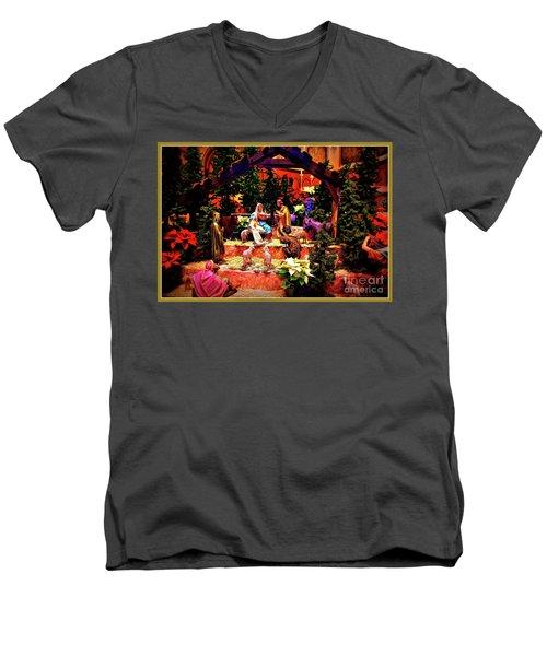 Color Vibe Nativity - Border Men's V-Neck T-Shirt
