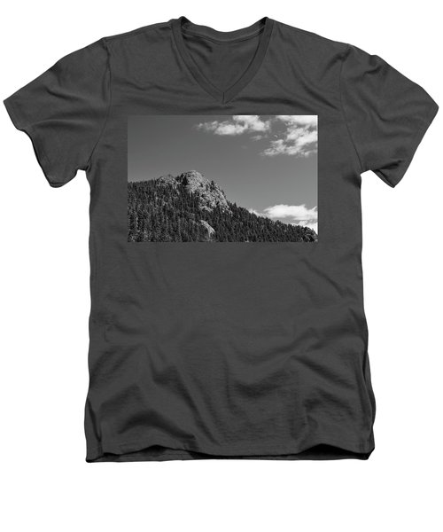 Men's V-Neck T-Shirt featuring the photograph Colorado Buffalo Rock With Waxing Crescent Moon In Bw by James BO Insogna