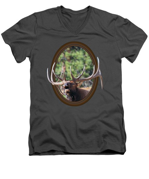 Men's V-Neck T-Shirt featuring the photograph Colorado Bull Elk by Shane Bechler