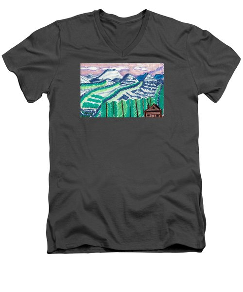 Men's V-Neck T-Shirt featuring the painting Colorado Cabin by Don Koester