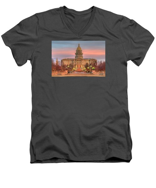 Men's V-Neck T-Shirt featuring the photograph Colorado Capital by Gary Lengyel