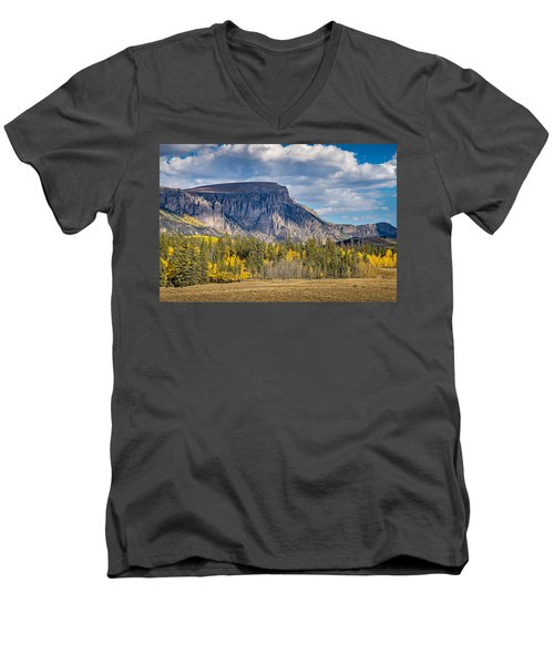 Colorado Fall Landscape With Aspen Trees Between Creede And Lake Men's V-Neck T-Shirt
