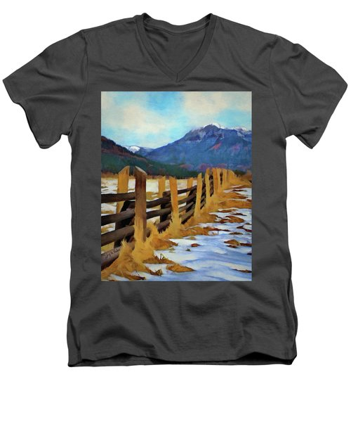 Men's V-Neck T-Shirt featuring the painting Colorado Fence Line  by Jeff Kolker