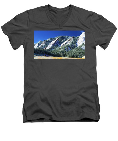 All Fivecolorado Flatirons Men's V-Neck T-Shirt by Marilyn Hunt
