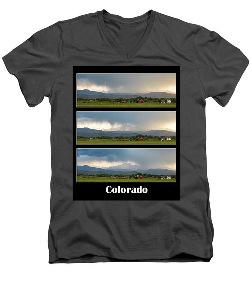 Men's V-Neck T-Shirt featuring the photograph Colorado Front Range Longs Peak Lightning And Rain Poster by James BO Insogna