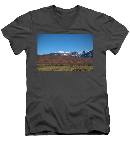 Colorado Great Sand Dunes With Falling Star Men's V-Neck T-Shirt by James BO Insogna