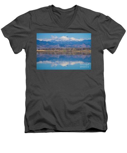 Colorado Longs Peak Circling Clouds Reflection Men's V-Neck T-Shirt