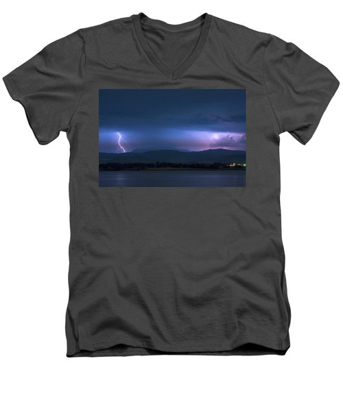 Men's V-Neck T-Shirt featuring the photograph Colorado Rocky Mountain Foothills Storm by James BO Insogna