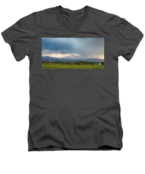 Men's V-Neck T-Shirt featuring the photograph Colorado Rocky Mountain Red Barn Country Storm by James BO Insogna