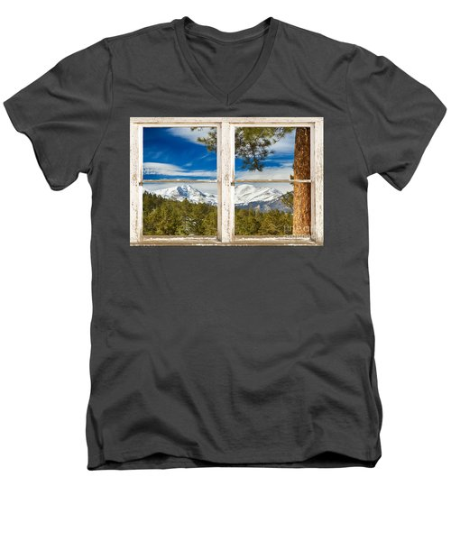 Colorado Rocky Mountain Rustic Window View Men's V-Neck T-Shirt