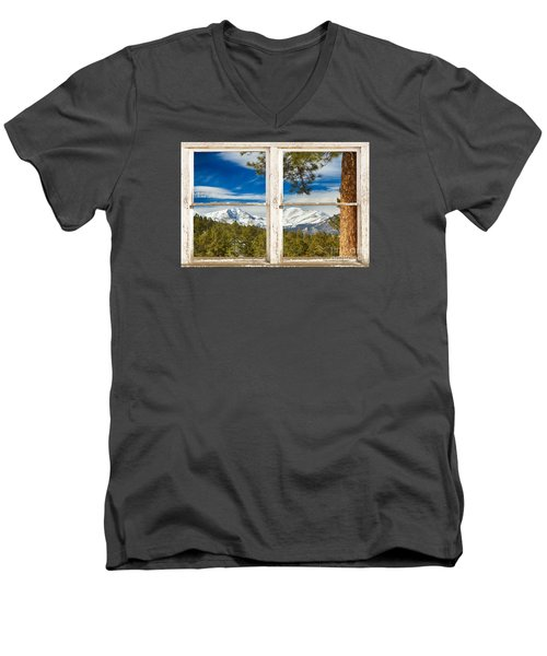 Colorado Rocky Mountain Rustic Window View Men's V-Neck T-Shirt