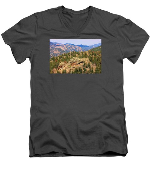Men's V-Neck T-Shirt featuring the photograph Colorado Rocky Mountains by Sheila Brown