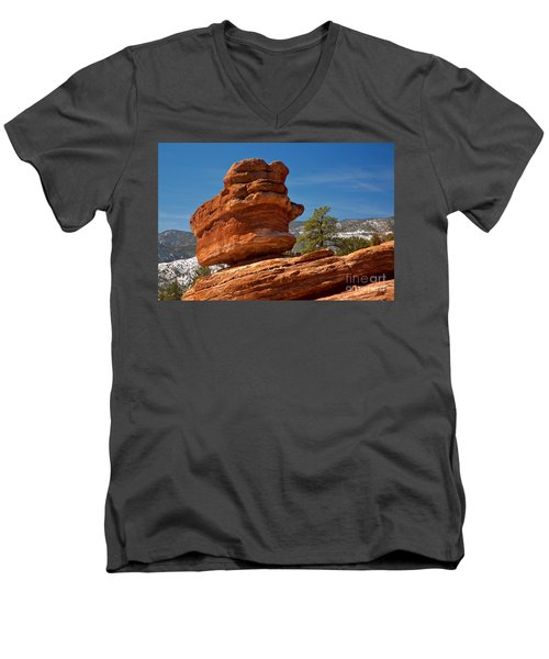 Men's V-Neck T-Shirt featuring the photograph Colorado Springs Balanced Rock by Adam Jewell