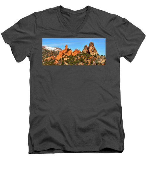 Men's V-Neck T-Shirt featuring the photograph Colorado Springs Garden Of The Gods High Point Panorama by Adam Jewell