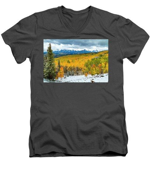 Colorado Valley Of Autumn Color Men's V-Neck T-Shirt by Teri Virbickis