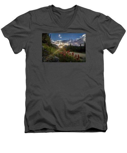 Colorado Wildflowers Under Evening Sun Men's V-Neck T-Shirt
