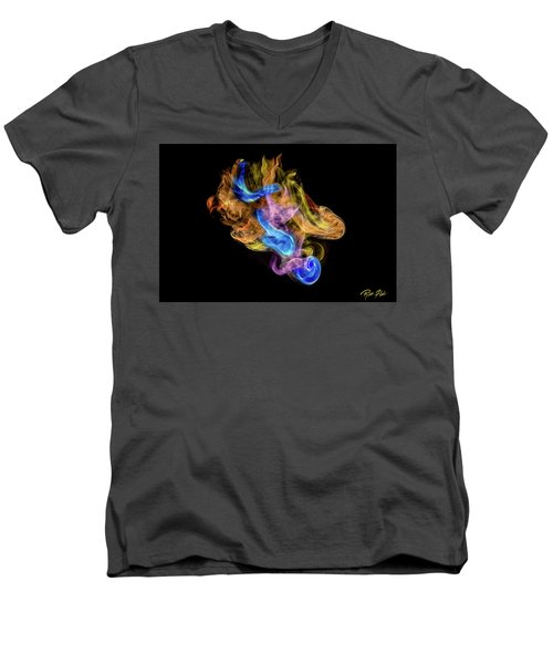 Men's V-Neck T-Shirt featuring the photograph Colored Vapors by Rikk Flohr