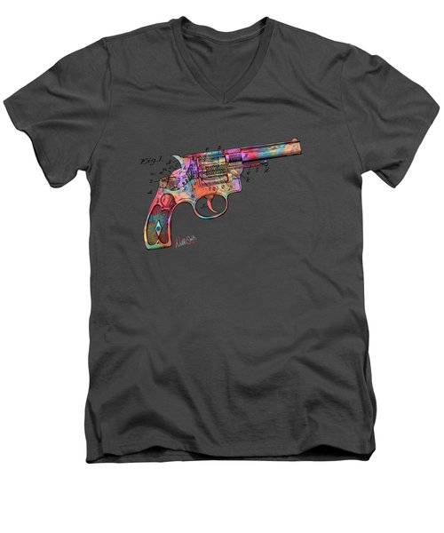 Men's V-Neck T-Shirt featuring the digital art Colorful 1896 Wesson Revolver Patent by Nikki Marie Smith