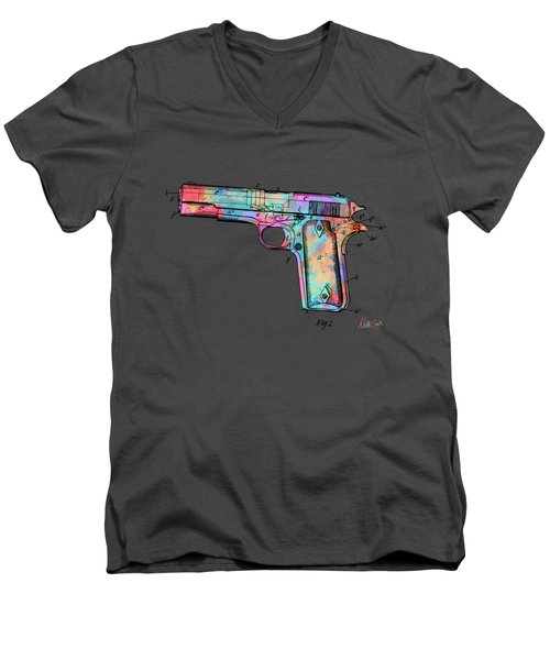 Colorful 1911 Colt 45 Browning Firearm Patent Minimal Men's V-Neck T-Shirt