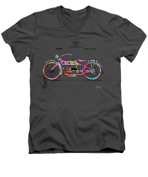 Men's V-Neck T-Shirt featuring the digital art Colorful 1919 Harley-davidson Motorcycle Patent by Nikki Marie Smith