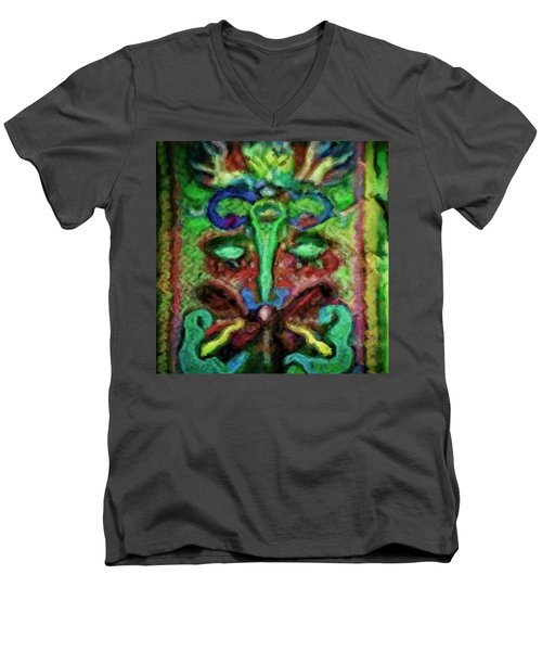 Colorful Abstract Painting Swirls And Dabs And Dots With Hidden Meaning And Secret Stories Of Birds  Men's V-Neck T-Shirt