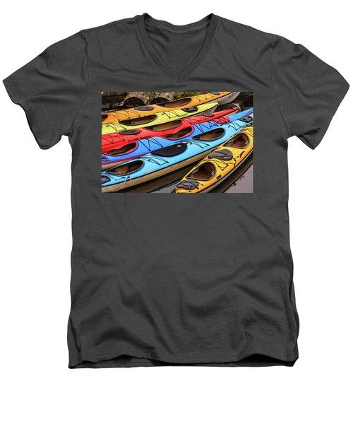 Colorful Alaska Kayaks Men's V-Neck T-Shirt