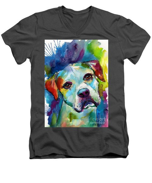 Colorful American Bulldog Dog Men's V-Neck T-Shirt