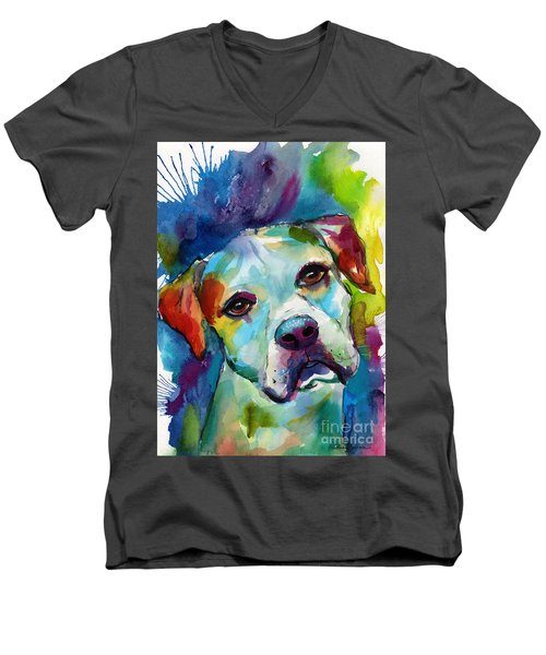 Colorful American Bulldog Dog Men's V-Neck T-Shirt
