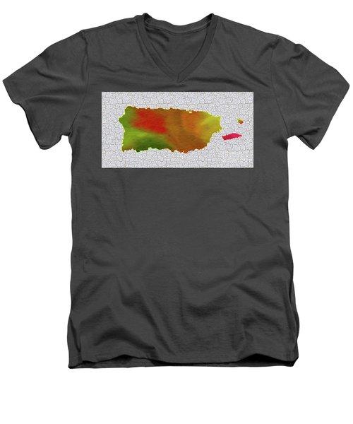 Colorful Art Puerto Rico Map Men's V-Neck T-Shirt by Saribelle Rodriguez