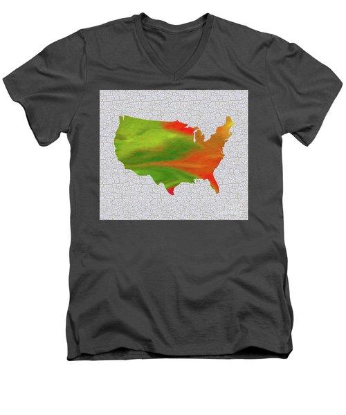 Colorful Art Usa Map Men's V-Neck T-Shirt by Saribelle Rodriguez