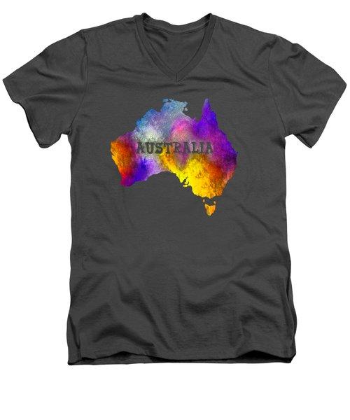 Colorful Australia Men's V-Neck T-Shirt by Kaye Menner