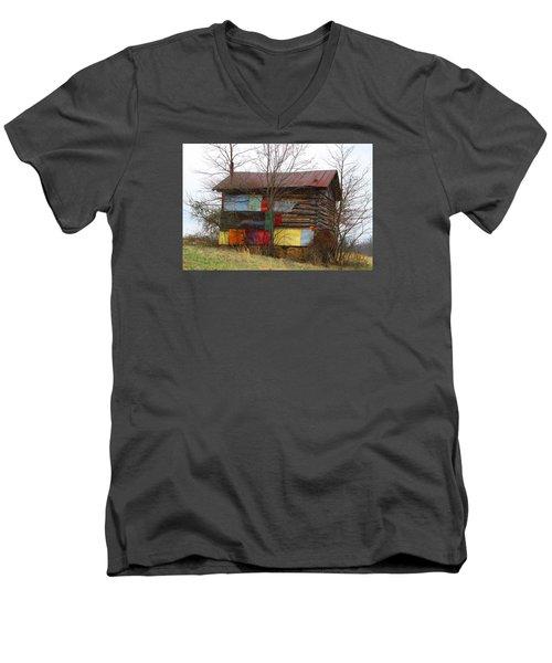 Colorful Barn Men's V-Neck T-Shirt by Kathryn Meyer