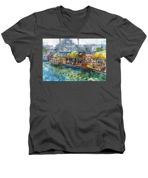 Colorful Boats In Istanbul Turkey Men's V-Neck T-Shirt