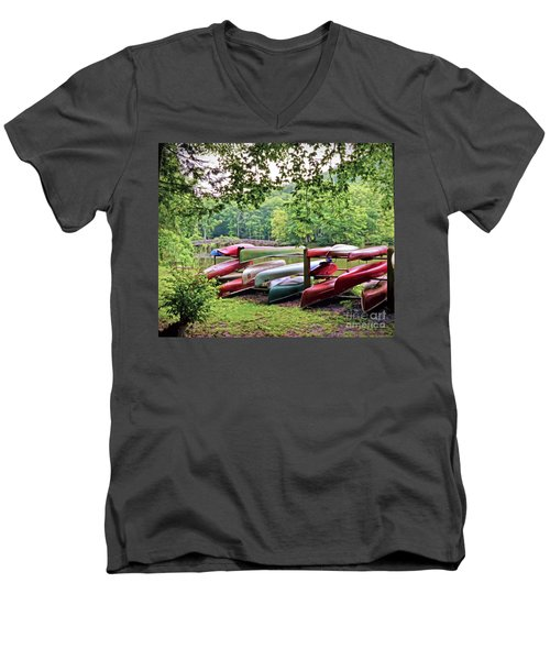 Colorful Canoes At Hungry Mother State Park Men's V-Neck T-Shirt