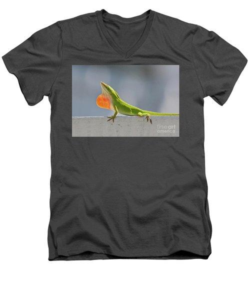 Colorful Carolina Anole Lizard Men's V-Neck T-Shirt