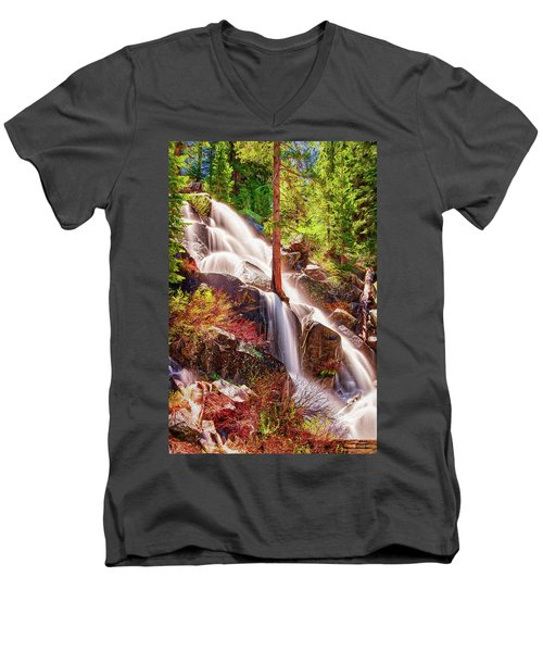 Colorful Cascade Waterfall On Tioga Pass Ap Men's V-Neck T-Shirt