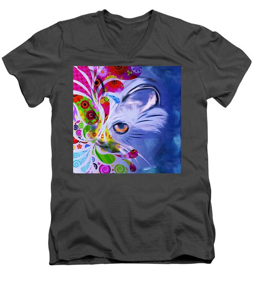 Men's V-Neck T-Shirt featuring the mixed media Colorful Cat World by Gabriella Weninger - David