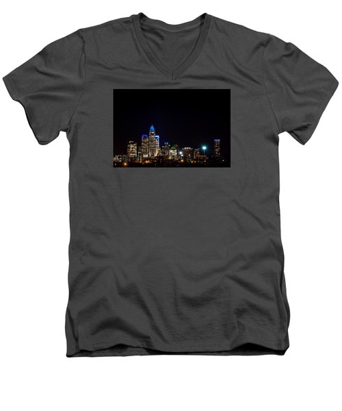 Colorful Charlotte, North Carolina Skyline Men's V-Neck T-Shirt by Serge Skiba