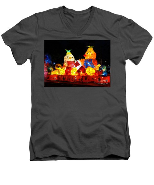 Men's V-Neck T-Shirt featuring the photograph Colorful Chinese Lanterns In The Shape Of Chickens by Yali Shi
