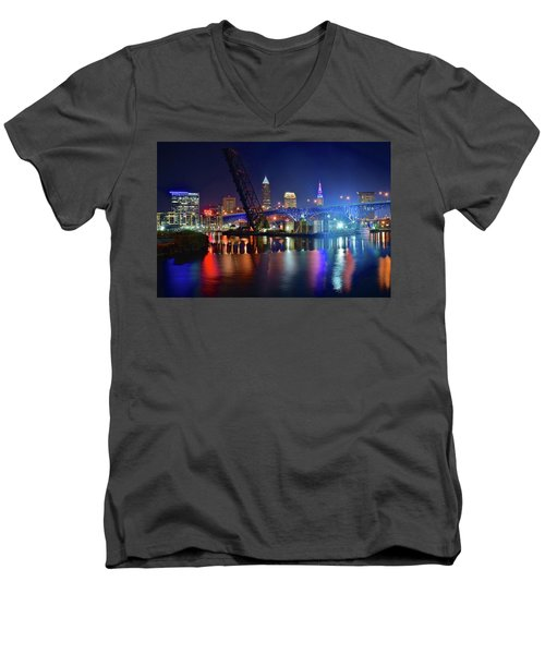 Men's V-Neck T-Shirt featuring the photograph Colorful Cleveland Lights Shimmer Bright by Frozen in Time Fine Art Photography