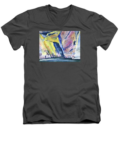 Colorful Cliffs And Cave Men's V-Neck T-Shirt